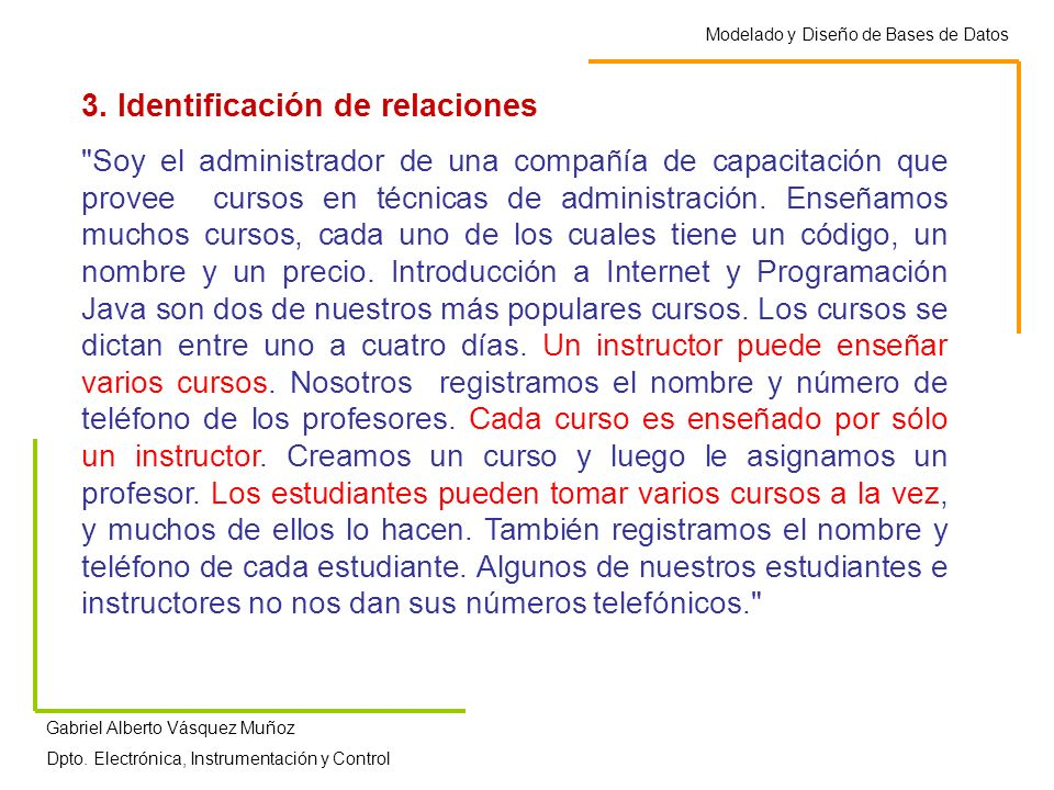 3. Identificación de relaciones