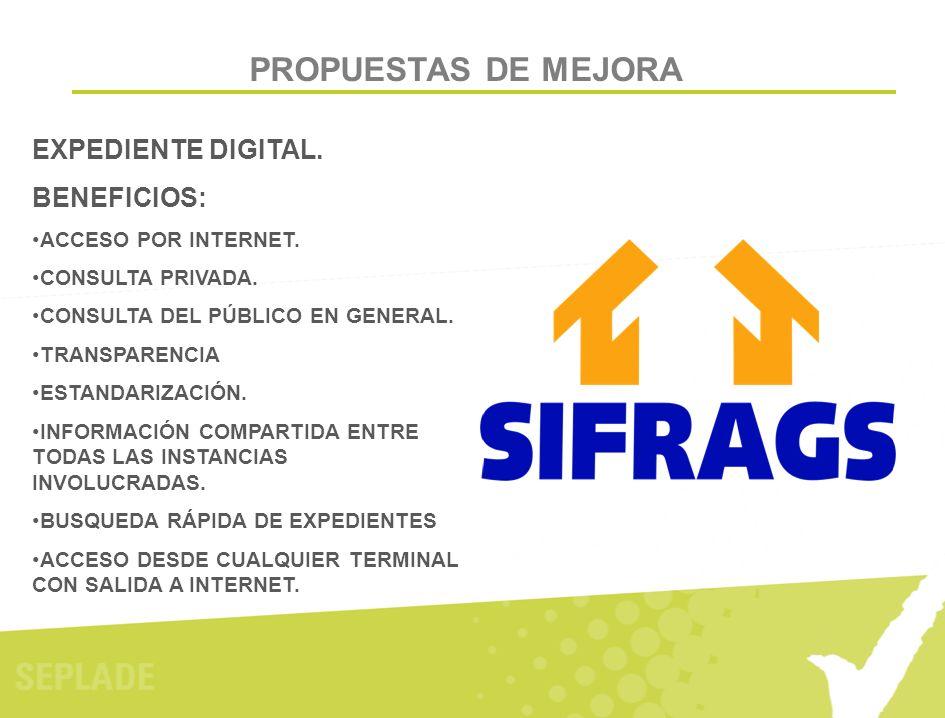 PROPUESTAS DE MEJORA EXPEDIENTE DIGITAL. BENEFICIOS: