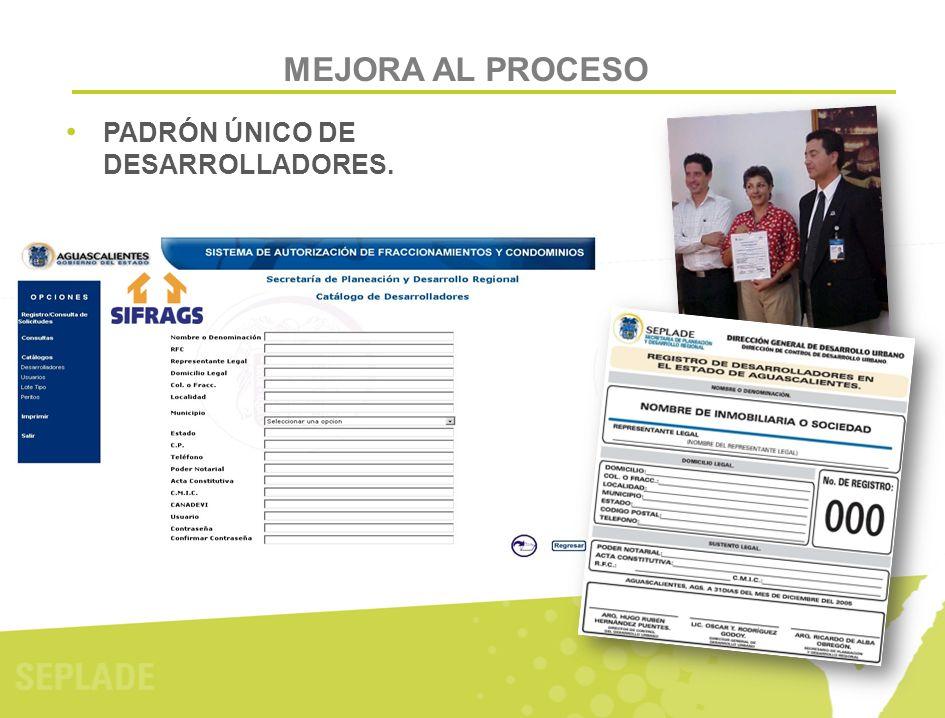 MEJORA AL PROCESO PADRÓN ÚNICO DE DESARROLLADORES.