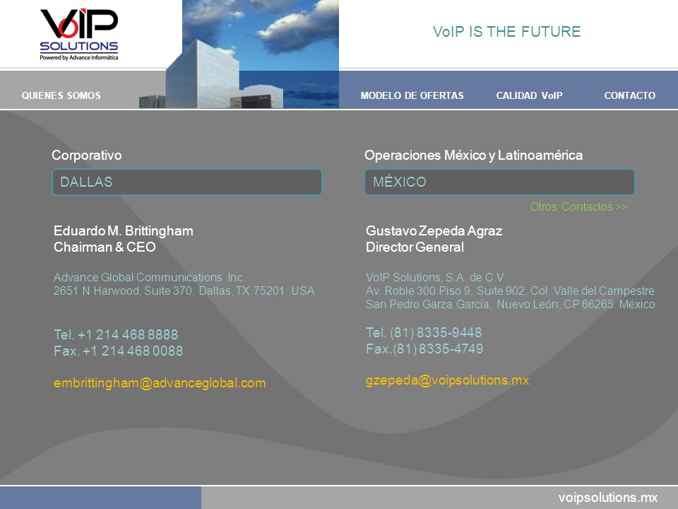VoIP IS THE FUTURE Corporativo Operaciones México y Latinoamérica