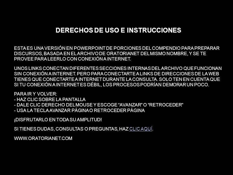 DERECHOS DE USO E INSTRUCCIONES