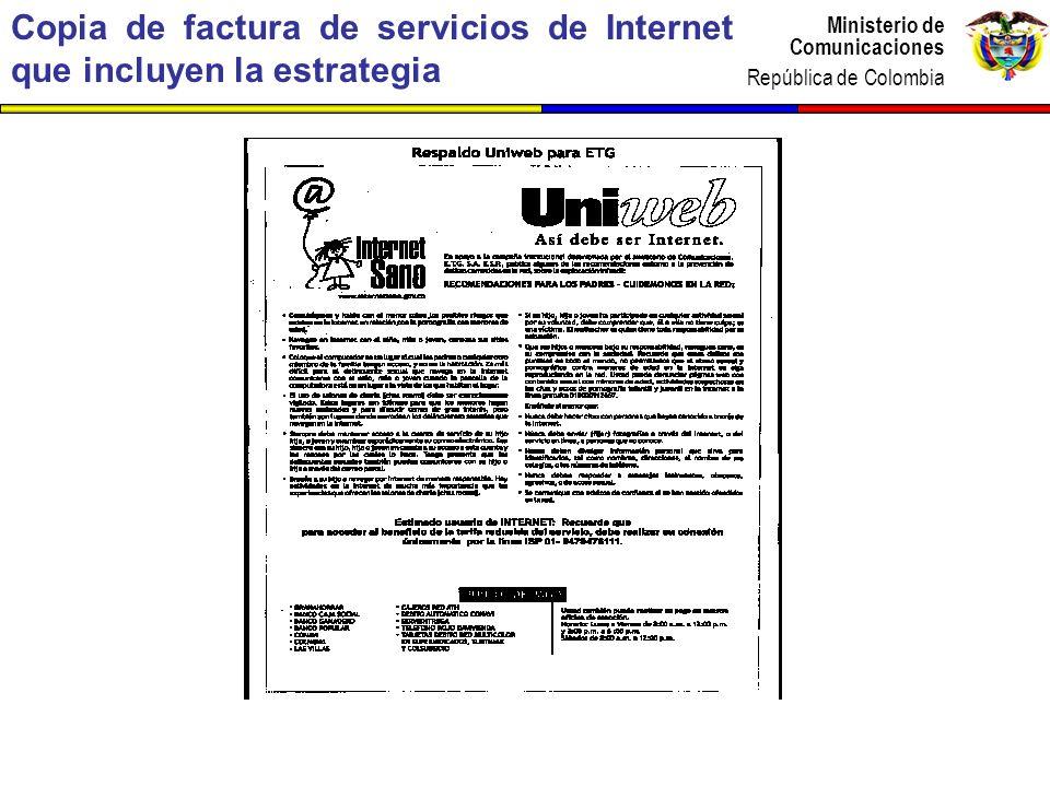 Copia de factura de servicios de Internet que incluyen la estrategia