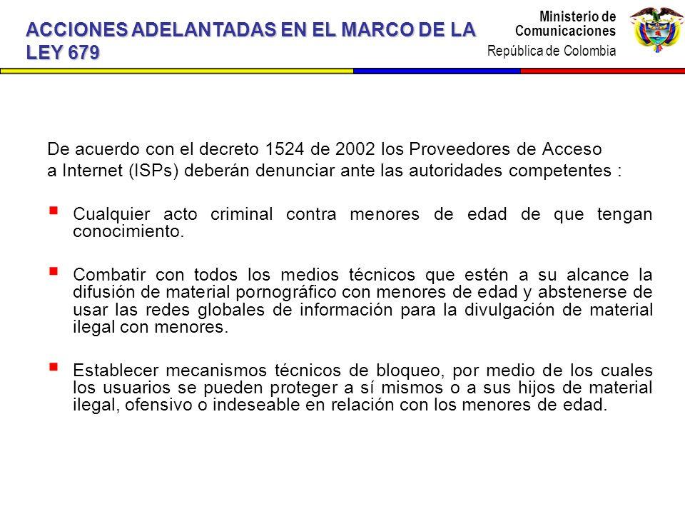 ACCIONES ADELANTADAS EN EL MARCO DE LA LEY 679