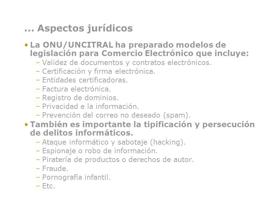 ... Aspectos jurídicos La ONU/UNCITRAL ha preparado modelos de legislación para Comercio Electrónico que incluye: