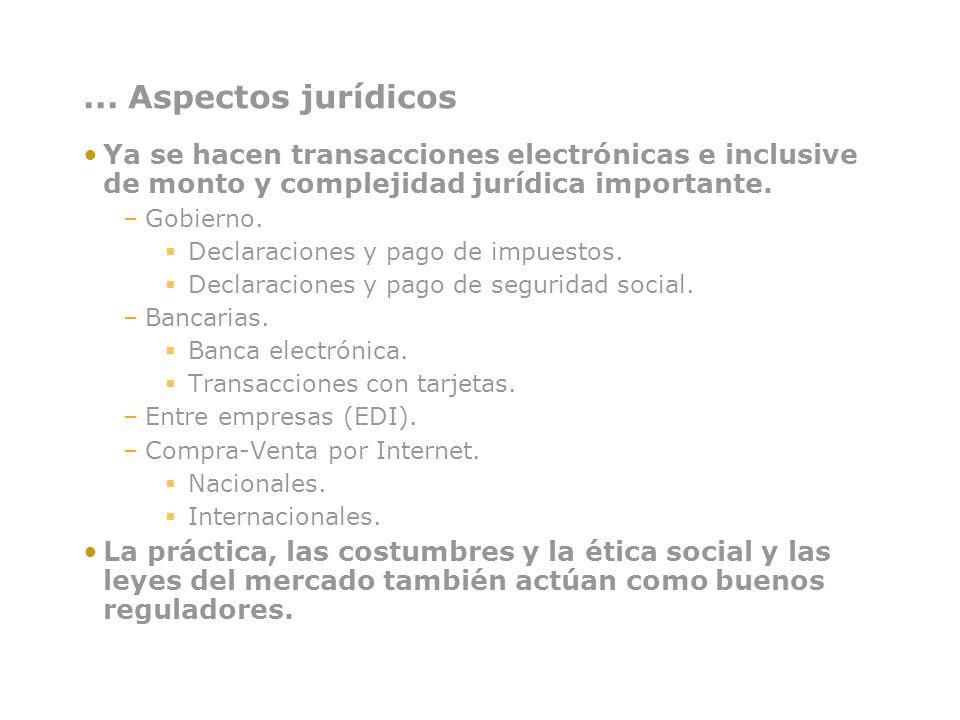 ... Aspectos jurídicos Ya se hacen transacciones electrónicas e inclusive de monto y complejidad jurídica importante.