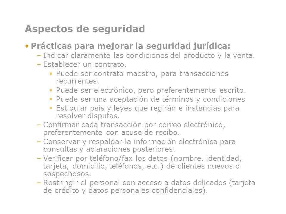 Aspectos de seguridad Prácticas para mejorar la seguridad jurídica: