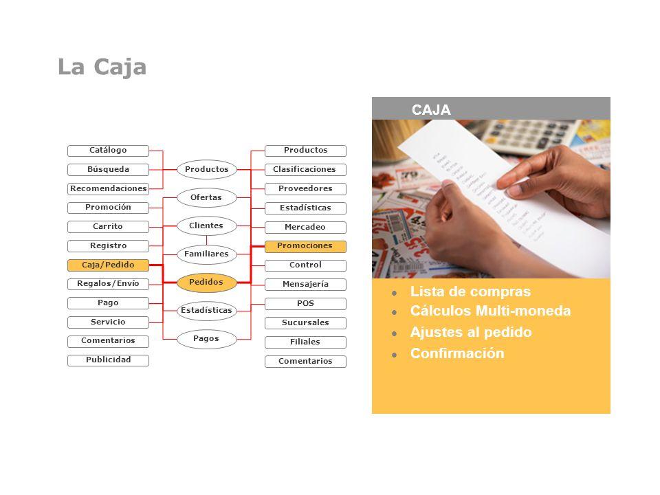 La Caja CAJA Lista de compras Cálculos Multi-moneda Ajustes al pedido