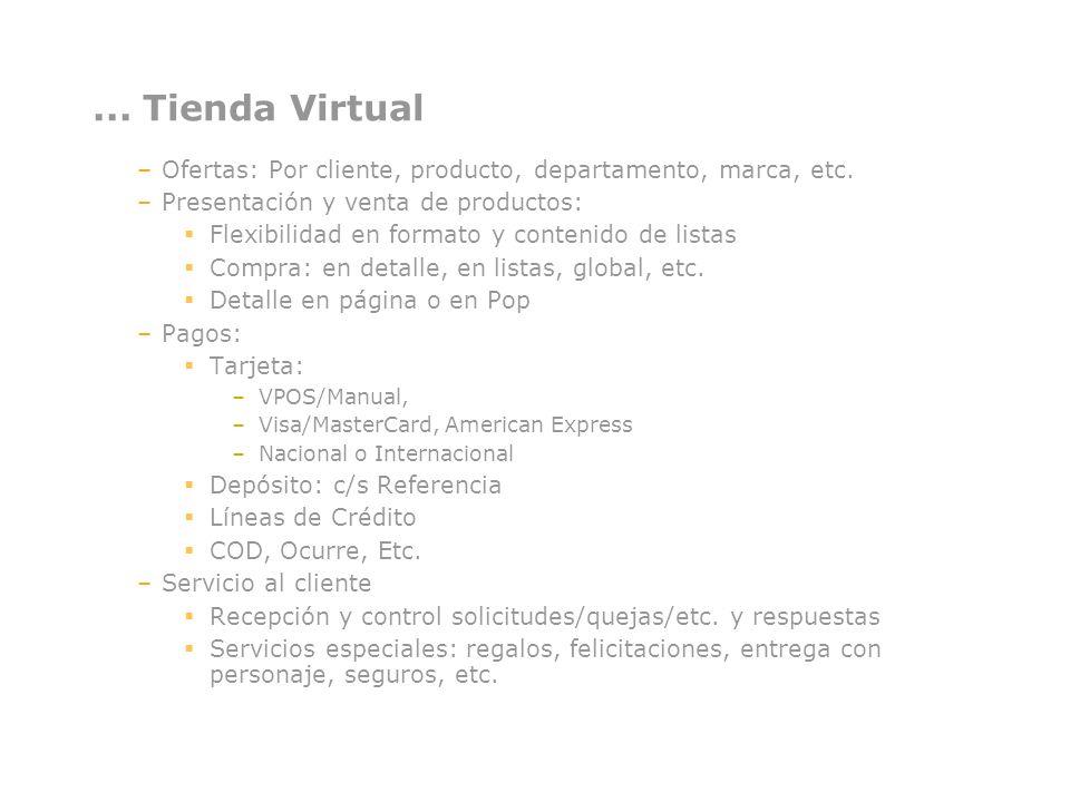 ... Tienda Virtual Ofertas: Por cliente, producto, departamento, marca, etc. Presentación y venta de productos: