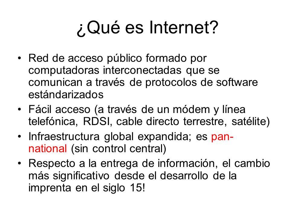 ¿Qué es Internet Red de acceso público formado por computadoras interconectadas que se comunican a través de protocolos de software estándarizados.