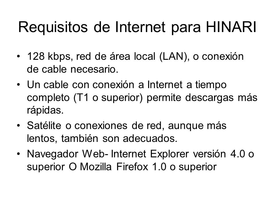 Requisitos de Internet para HINARI