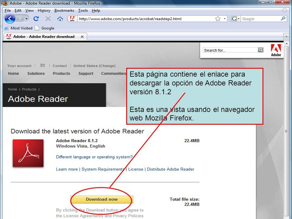 Esta página contiene el enlace para descargar la opción de Adobe Reader versión 8.1.2 Esta es una vista usando el navegador web Mozilla Firefox.