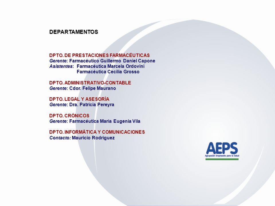 DEPARTAMENTOS DPTO. DE PRESTACIONES FARMACÉUTICAS
