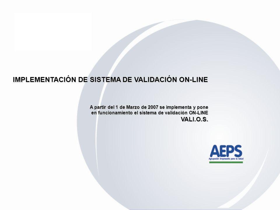 IMPLEMENTACIÓN DE SISTEMA DE VALIDACIÓN ON-LINE