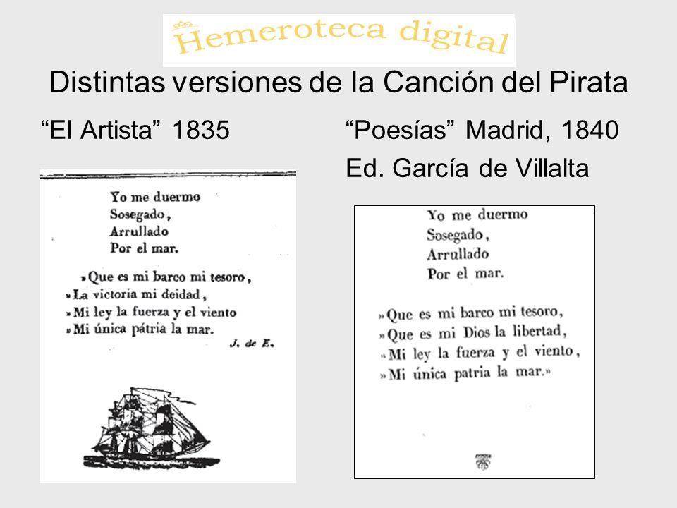 Distintas versiones de la Canción del Pirata