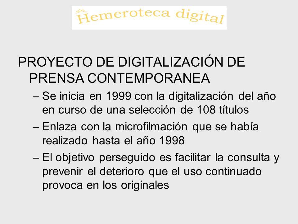 PROYECTO DE DIGITALIZACIÓN DE PRENSA CONTEMPORANEA