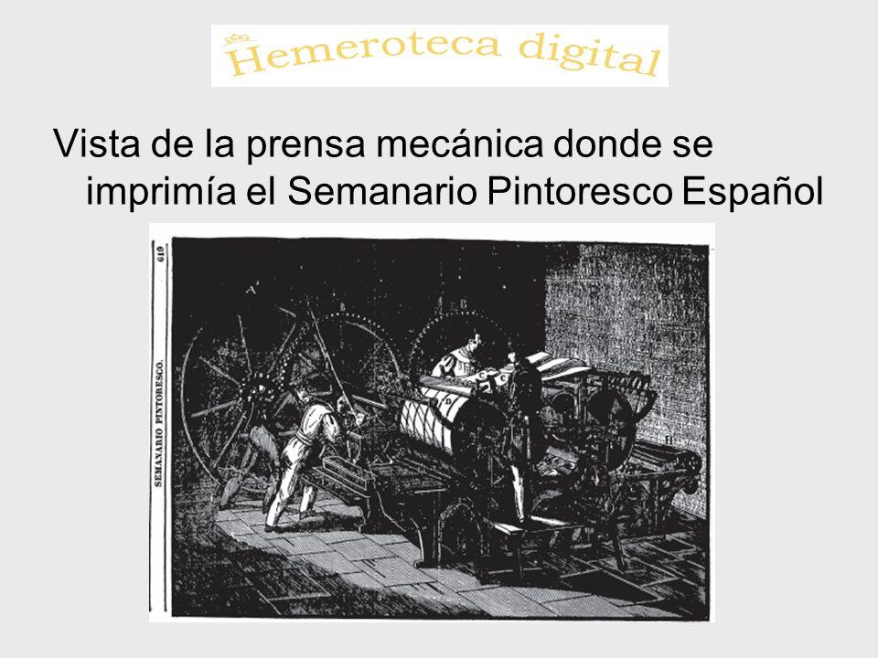 Vista de la prensa mecánica donde se imprimía el Semanario Pintoresco Español