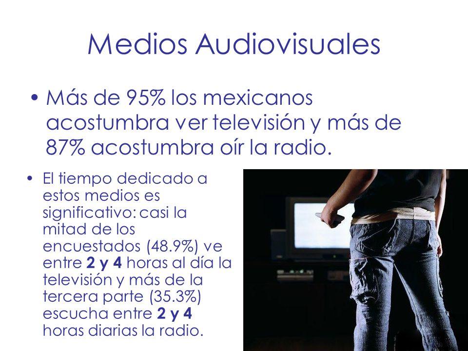 Medios Audiovisuales Más de 95% los mexicanos acostumbra ver televisión y más de 87% acostumbra oír la radio.