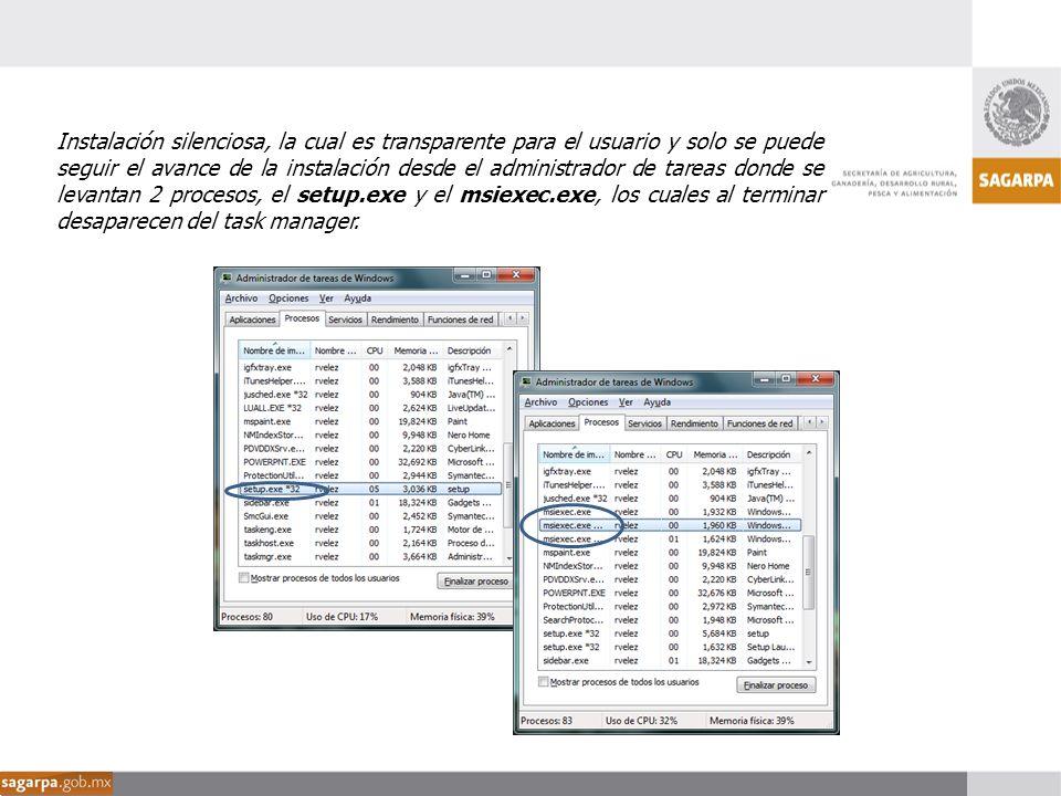 Instalación silenciosa, la cual es transparente para el usuario y solo se puede seguir el avance de la instalación desde el administrador de tareas donde se levantan 2 procesos, el setup.exe y el msiexec.exe, los cuales al terminar desaparecen del task manager.