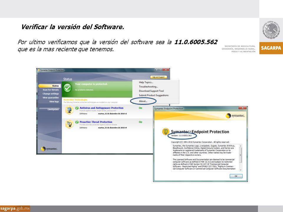 Verificar la versión del Software.