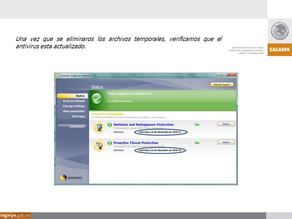 Una vez que se eliminaros los archivos temporales, verificamos que el antivirus esta actualizado.