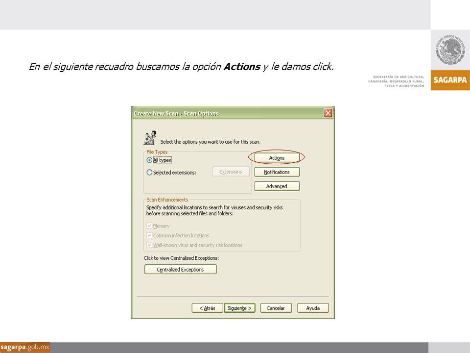 En el siguiente recuadro buscamos la opción Actions y le damos click.