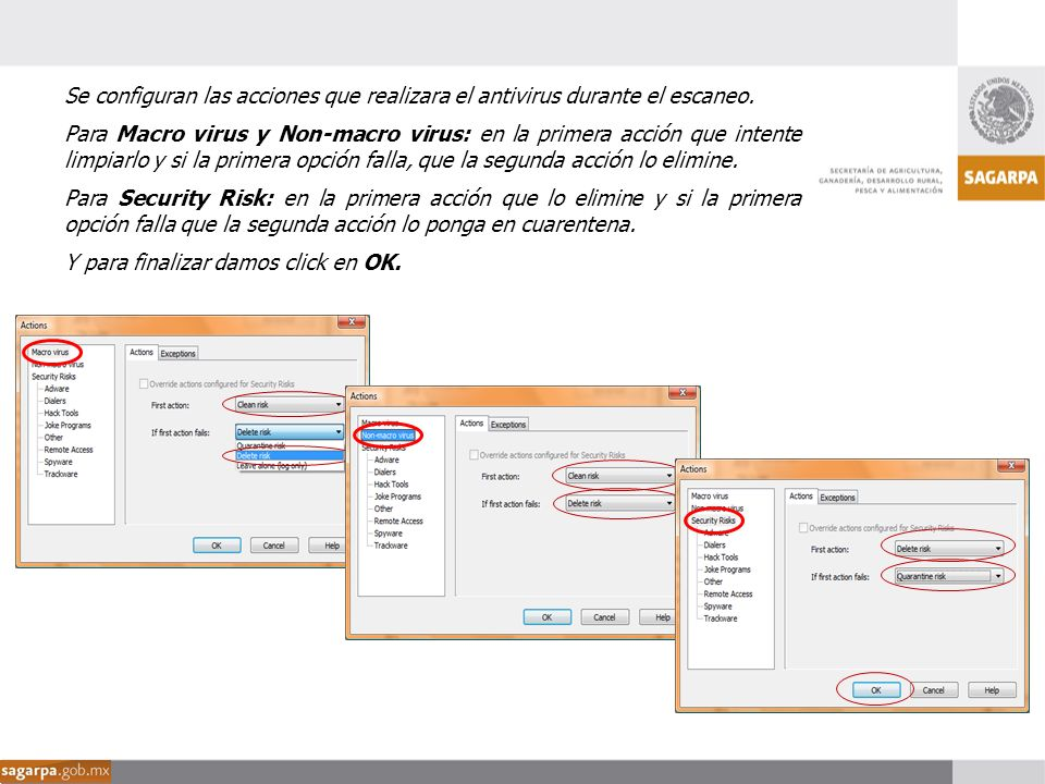 Se configuran las acciones que realizara el antivirus durante el escaneo.