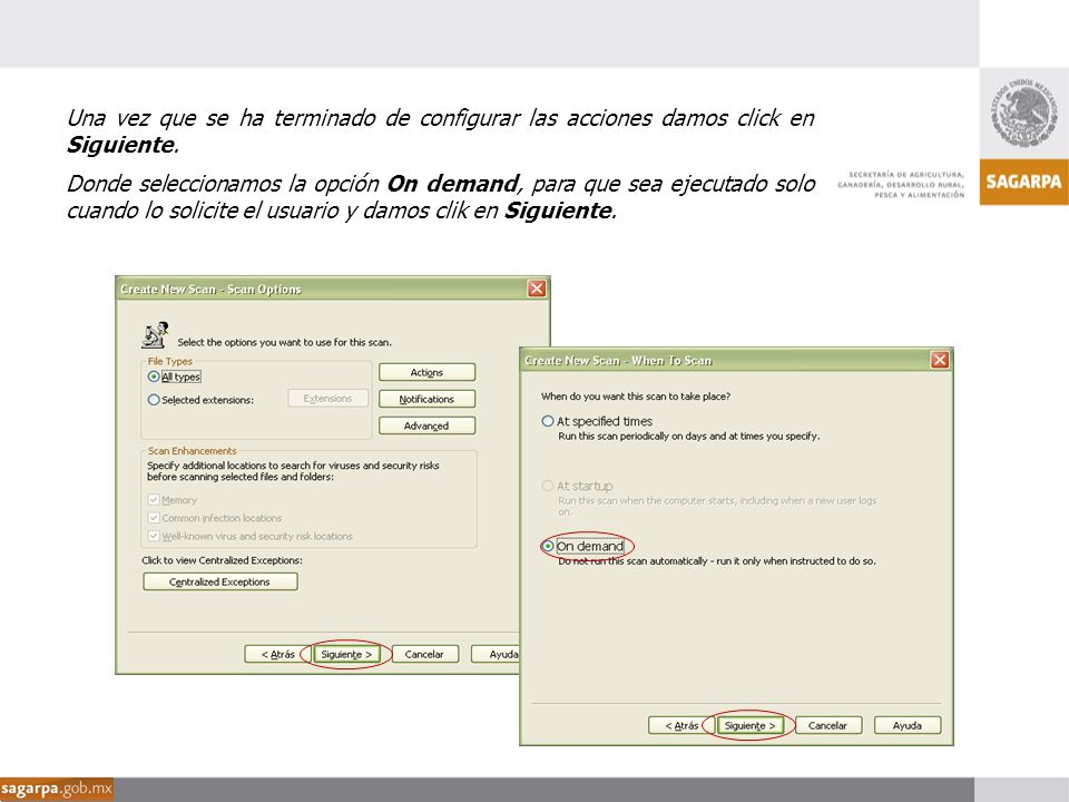 Una vez que se ha terminado de configurar las acciones damos click en Siguiente.