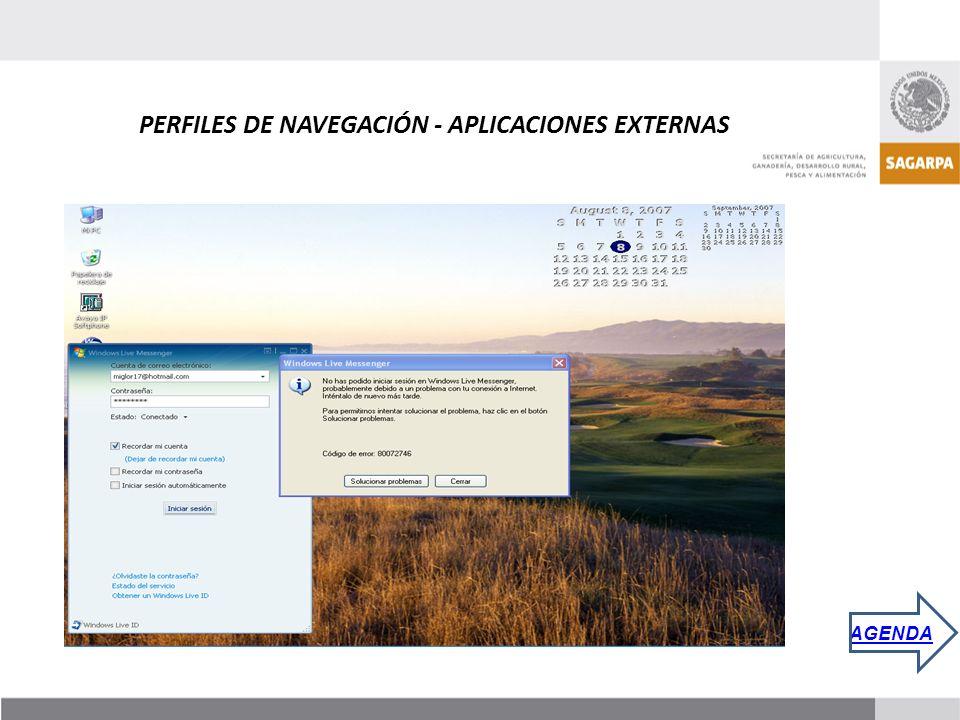 PERFILES DE NAVEGACIÓN - APLICACIONES EXTERNAS