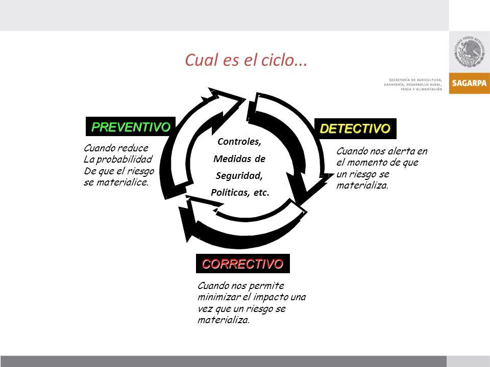 Cual es el ciclo... PREVENTIVO DETECTIVO CORRECTIVO Controles,