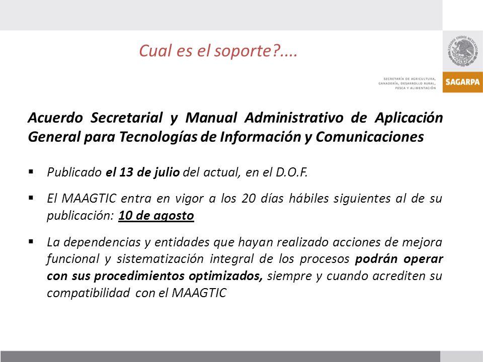 Cual es el soporte .... Acuerdo Secretarial y Manual Administrativo de Aplicación General para Tecnologías de Información y Comunicaciones.