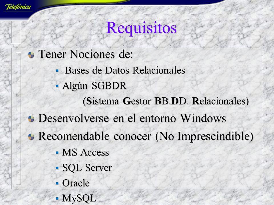 Requisitos Tener Nociones de: Desenvolverse en el entorno Windows