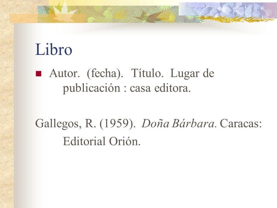 Libro Autor. (fecha). Título. Lugar de publicación : casa editora.