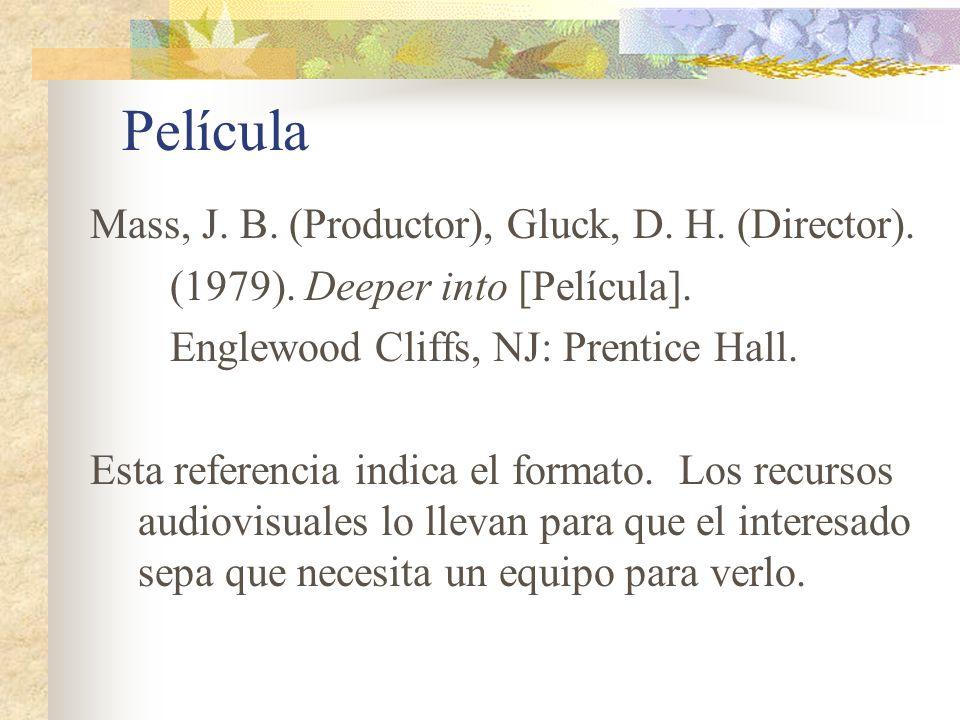 Película Mass, J. B. (Productor), Gluck, D. H. (Director).