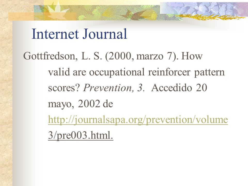 Internet Journal Gottfredson, L. S. (2000, marzo 7). How