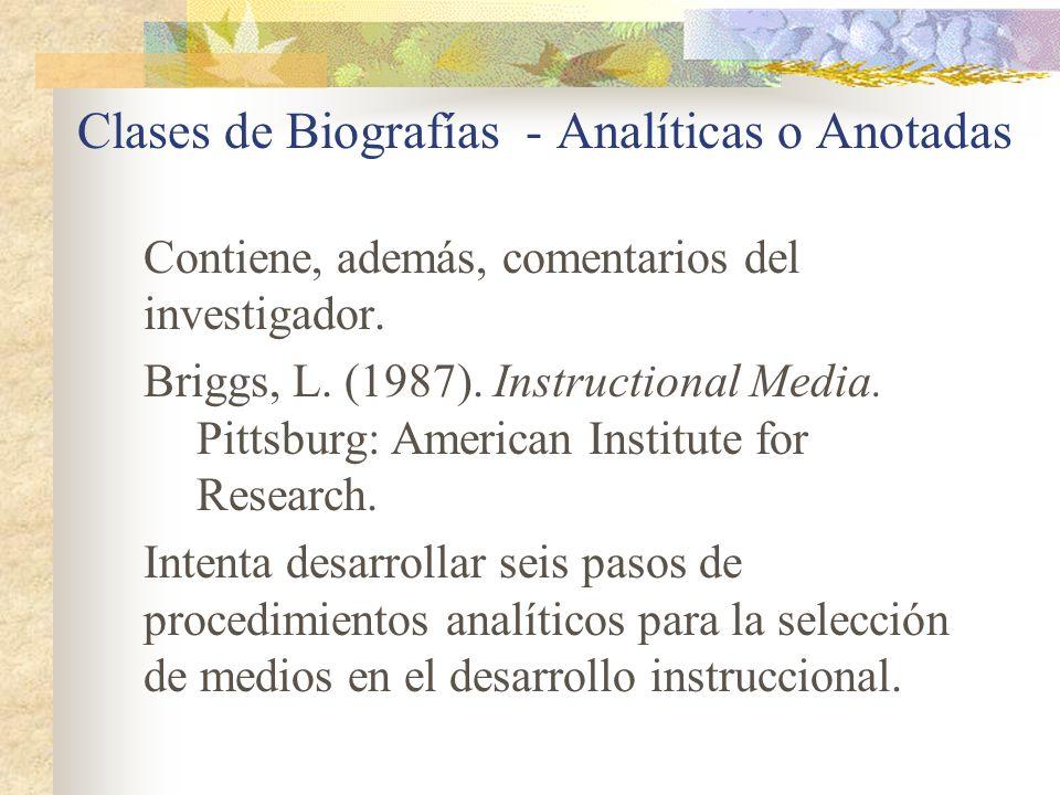 Clases de Biografías - Analíticas o Anotadas