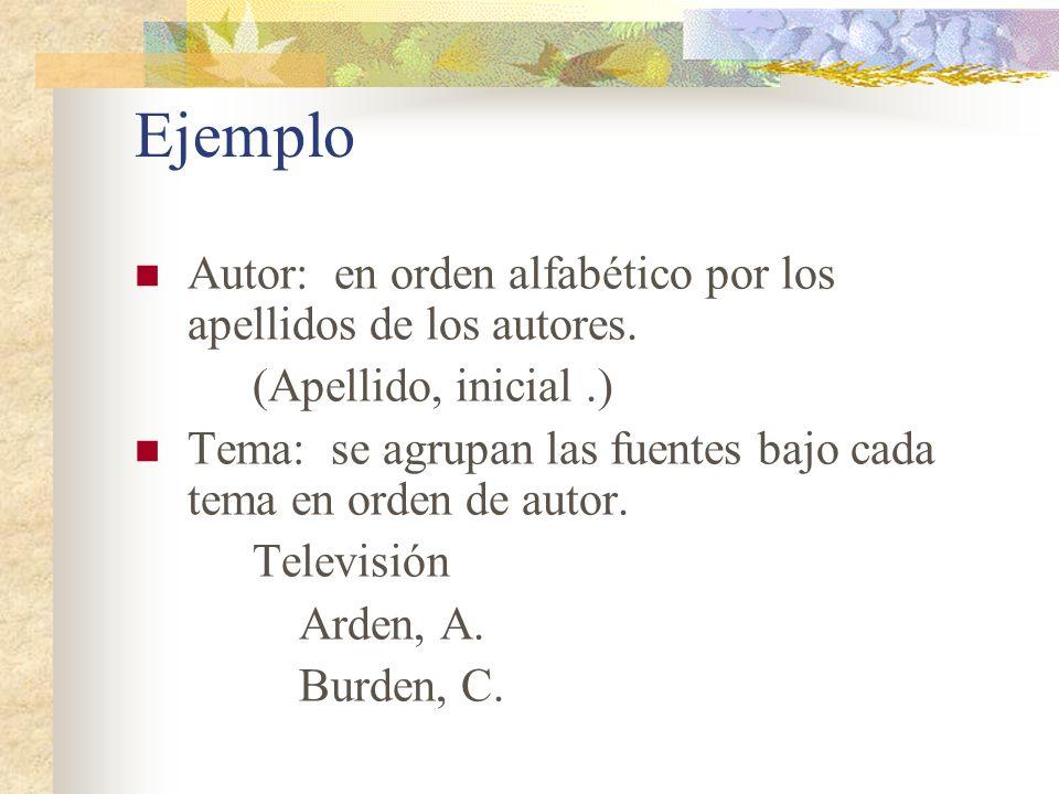 Ejemplo Autor: en orden alfabético por los apellidos de los autores.