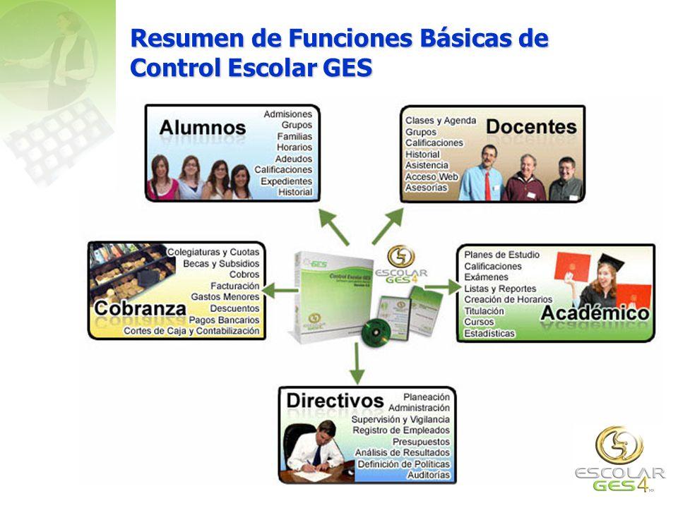 Resumen de Funciones Básicas de Control Escolar GES