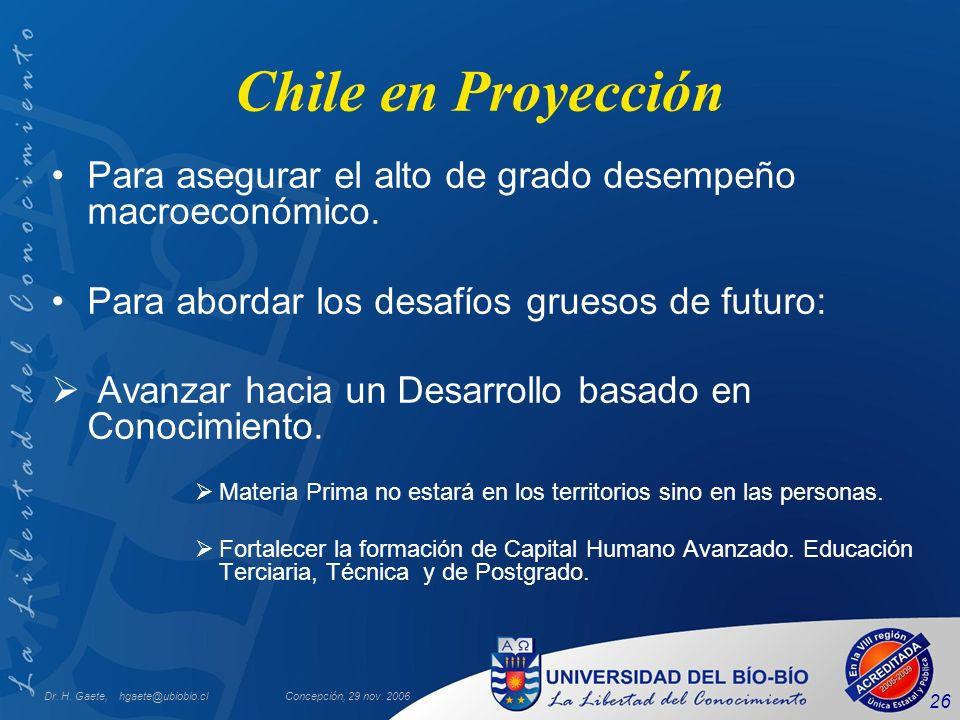 Chile en Proyección Para asegurar el alto de grado desempeño macroeconómico. Para abordar los desafíos gruesos de futuro: