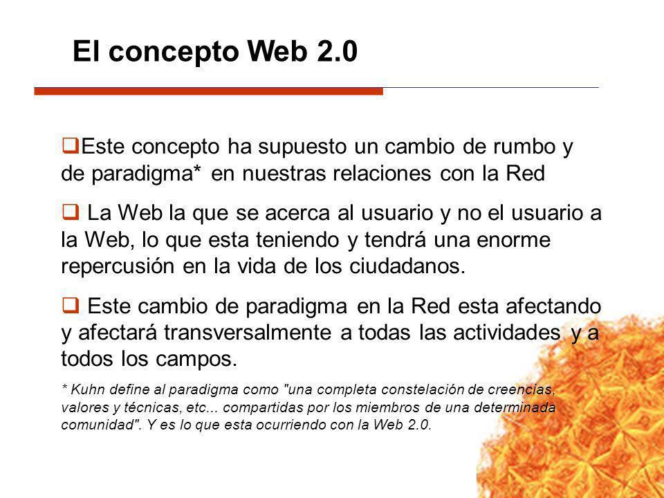 El concepto Web 2.0 Este concepto ha supuesto un cambio de rumbo y de paradigma* en nuestras relaciones con la Red.