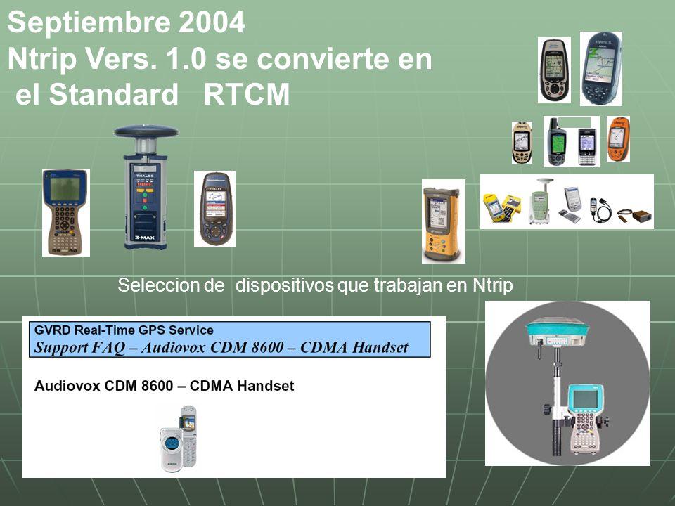 Septiembre 2004 Ntrip Vers. 1.0 se convierte en el Standard RTCM