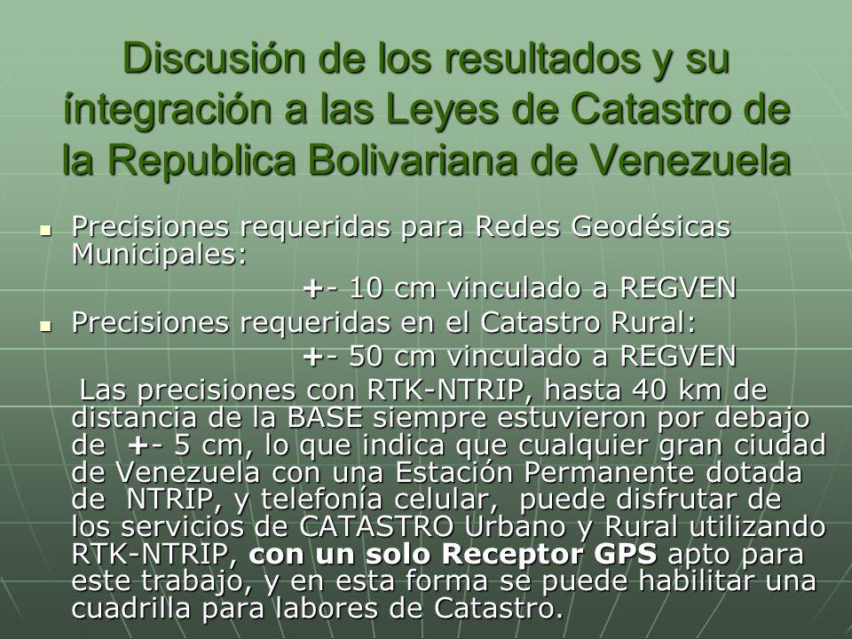 Discusión de los resultados y su íntegración a las Leyes de Catastro de la Republica Bolivariana de Venezuela
