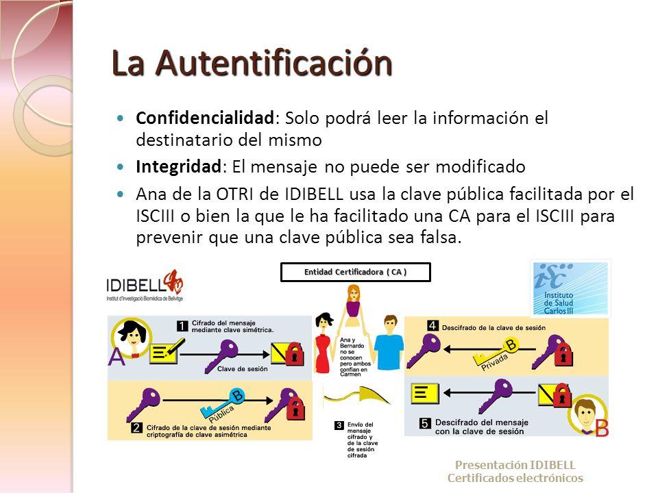 La Autentificación Confidencialidad: Solo podrá leer la información el destinatario del mismo. Integridad: El mensaje no puede ser modificado.