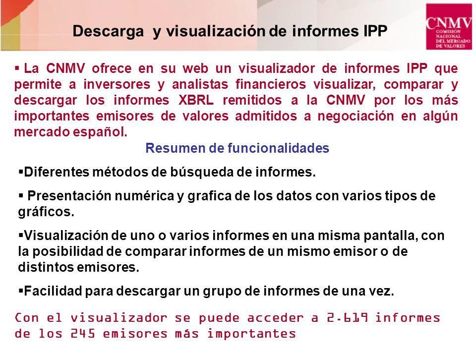 Descarga y visualización de informes IPP Resumen de funcionalidades