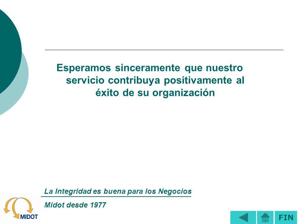 Esperamos sinceramente que nuestro servicio contribuya positivamente al éxito de su organización