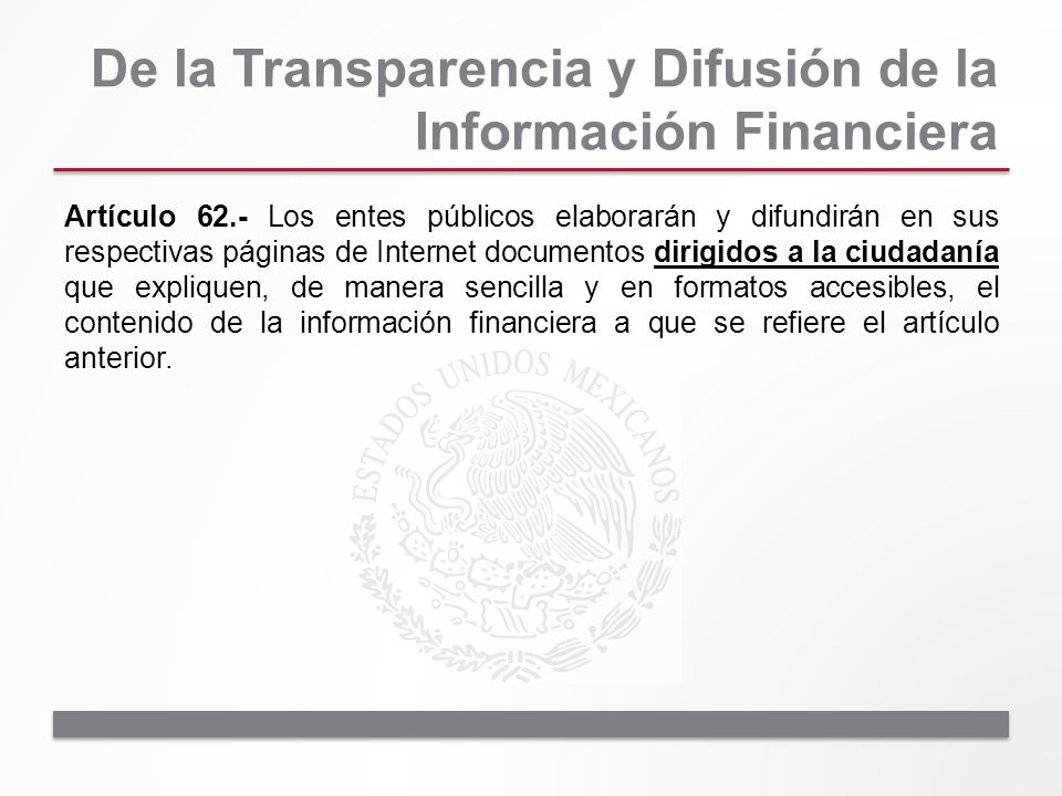 De la Transparencia y Difusión de la Información Financiera