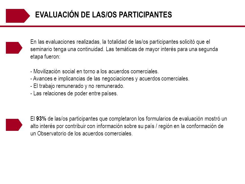 EVALUACIÓN DE LAS/OS PARTICIPANTES