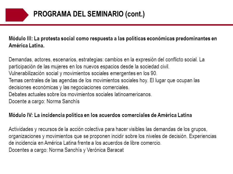 PROGRAMA DEL SEMINARIO (cont.)