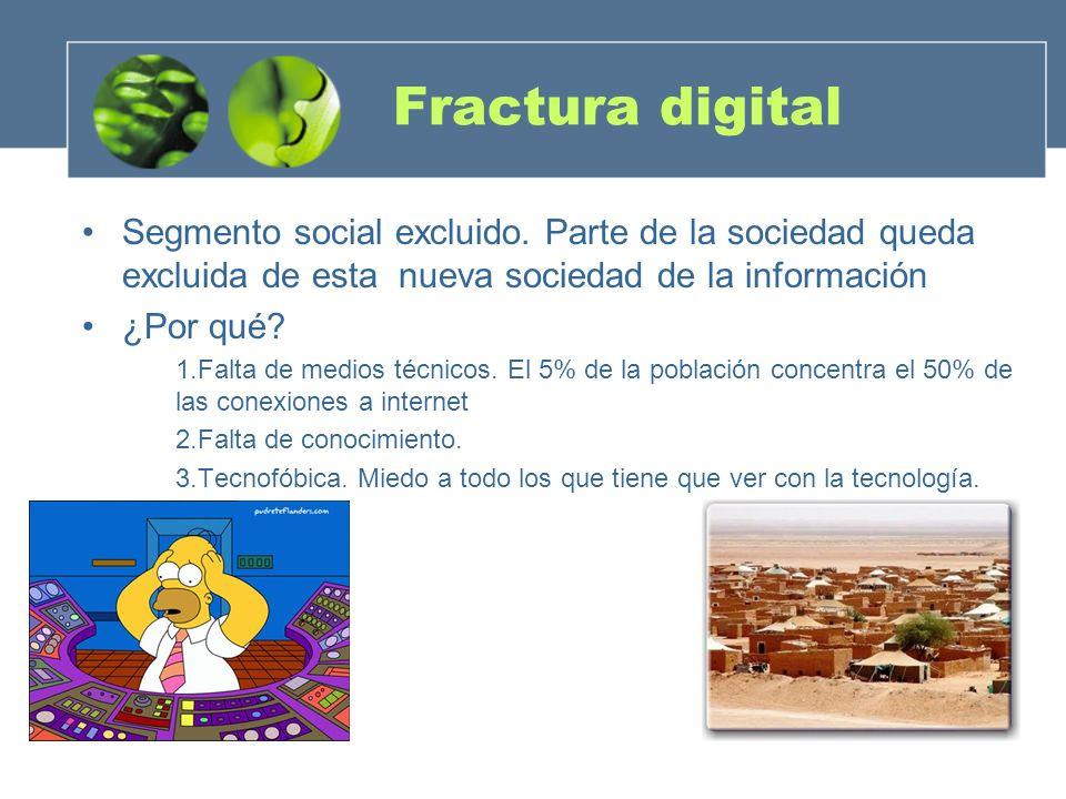 Fractura digital Segmento social excluido. Parte de la sociedad queda excluida de esta nueva sociedad de la información.