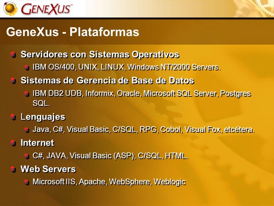 GeneXus - Plataformas Servidores con Sistemas Operativos