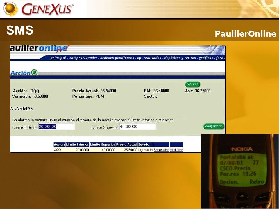 SMS PaullierOnline. PaullierOnline, desde una pagina se elige las acciones de interés y a partir de que valores se quiere el aviso.